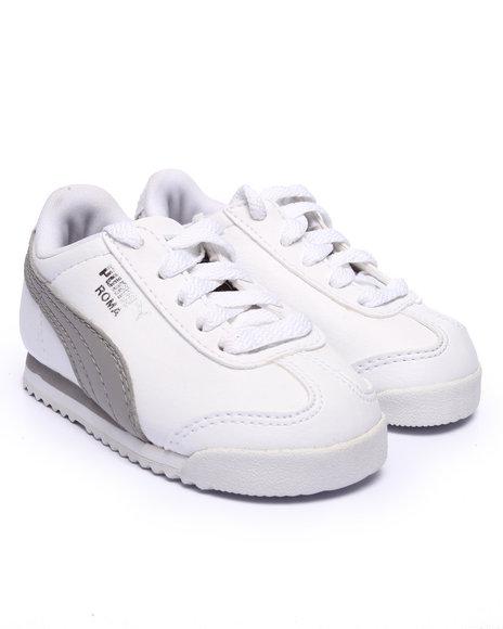 Puma - Boys White Roma Basic Kids Sneakers (5-10)
