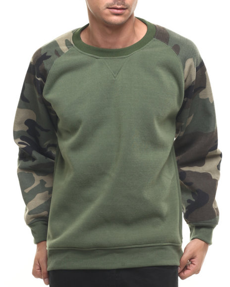 Ur-ID 222856 Basic Essentials - Men Camo,Olive Camo Raglan Crewneck Sweatshirt