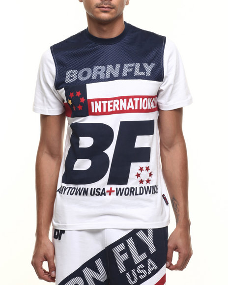 Born Fly - Men Navy,White Abelyan Tee - $38.00