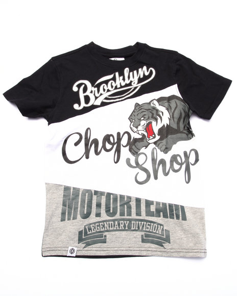 Akademiks - Boys Black Cut & Sew Chop Shop Tee (8-20)