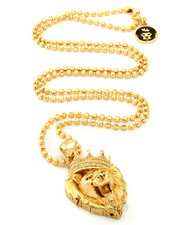 Accessories - 14K Gold Roaring CZ Lion Necklace