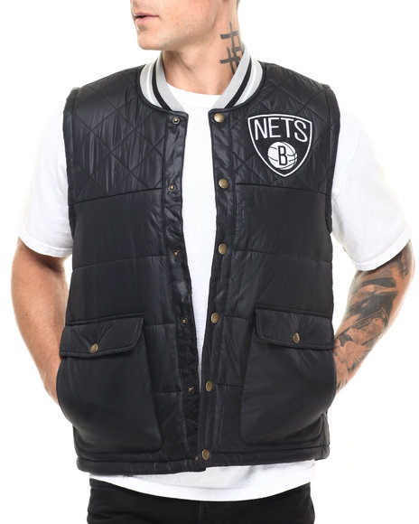 Mitchell & Ness - Men Black Brooklyn Nets Nba Snap Front Vest (Tailored Fit)