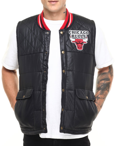 Mitchell & Ness - Men Black Chicago Bulls Nba Snap Front Vest (Tailored Fit)