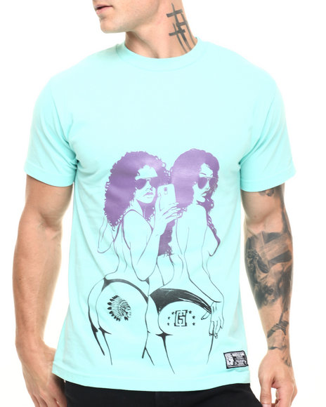 Hustle Gang - Men Teal Selfie Tee