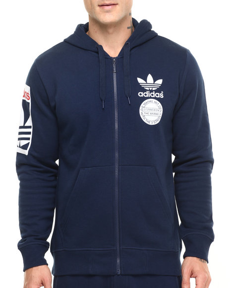 Adidas - Men Navy Street Graphic Full Zip Hoodie