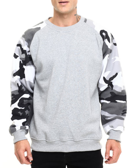 Basic Essentials - Men Light Grey Camo Raglan Crewneck Sweatshirt