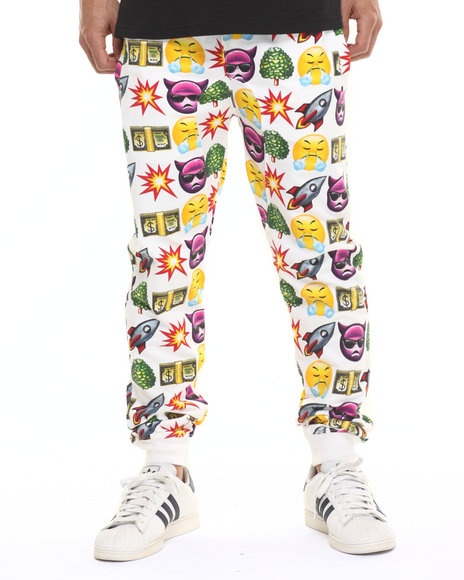 Basic Essentials - Men White How U Feel Emoji Joggers