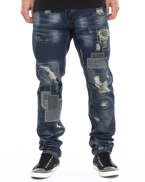 Heritage America - Men Dark Wash Distressed Patch Denim Jeans