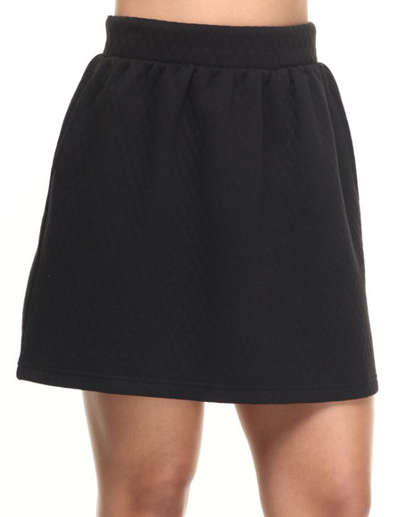 Freestyle - Women Black Belle Quilted Knit Skirt