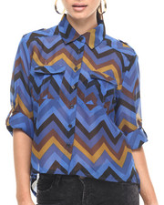 Polos & Button-Downs - Chevron Stripe Roll Sleeve Georgette Shirt