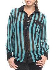 Women - Stripe Button Down Georgette Shirt