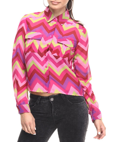She's Cool - Women Pink Chevron Stripe Roll Sleeve Georgette Shirt