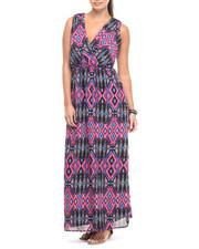 Print Dress - Aztec Print Georgette Maxi