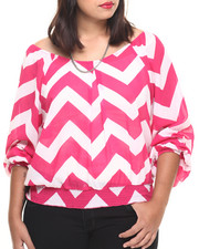 Fashion Tops - Chevron Print Georgette Top (Plus)