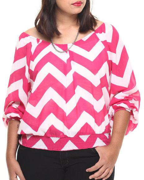 She's Cool - Women Pink Chevron Print Georgette Top (Plus)