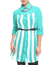 Tops - Colorblock Stripe Belted Georgette Tunic Shirt