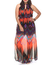 Dresses - Ombre Chevron Print Maxi (Plus)
