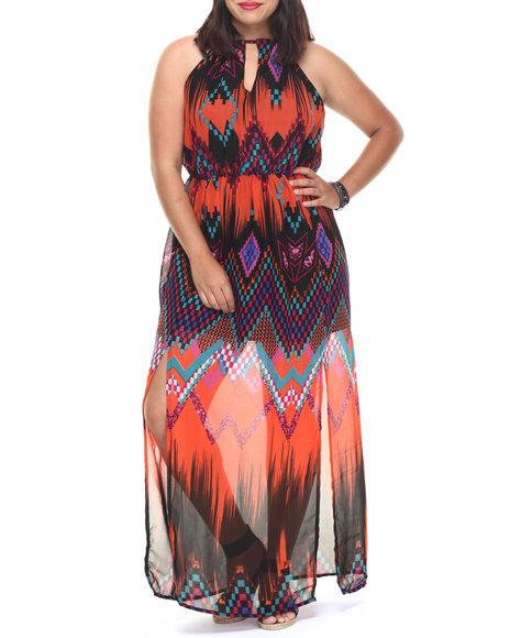 She's Cool - Women Orange Ombre Chevron Print Maxi (Plus) - $20.99