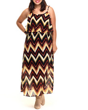 Dresses - Chevron Stripe Popover Maxi (Plus)