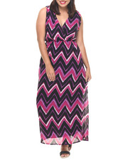 Dresses - Chevron Stripe Surplice Maxi (Plus)