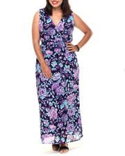 Dresses - Floral Print Surplice Maxi (Plus)