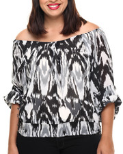 Fashion Tops - Chevron Lightning Print Woven Top (Plus)
