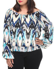 Long-Sleeve - Chevron Lightning Print Woven Top (Plus)