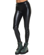 Bottoms - Amber Glossy Faux Vegan Leather Leggings