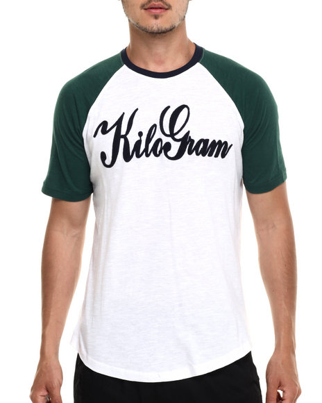 Kilogram - Men Green Kilogram Signature Flocked 3 / 4 Sleeve Raglan Tee