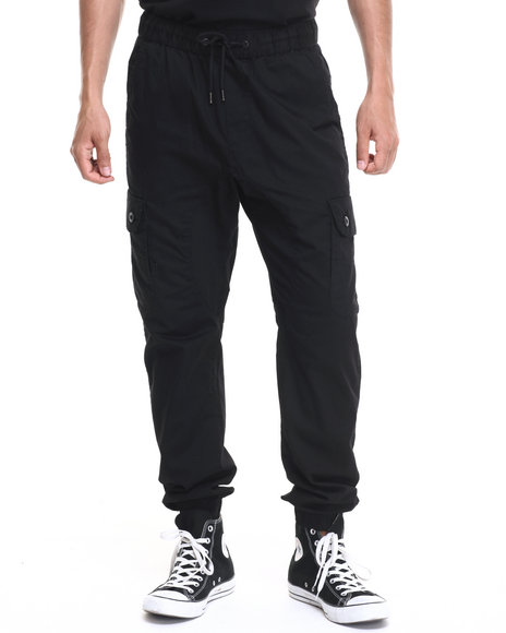 Basic Essentials - Men Black Cargo Twill Joggers