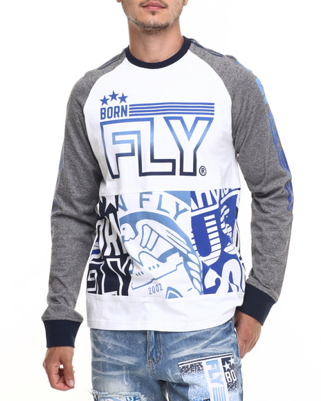 Born Fly - Men White Abo Raglan Tee - $42.00