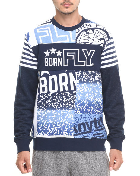 Born Fly - Men Navy Big L Crewneck Sweatshirt - $68.00