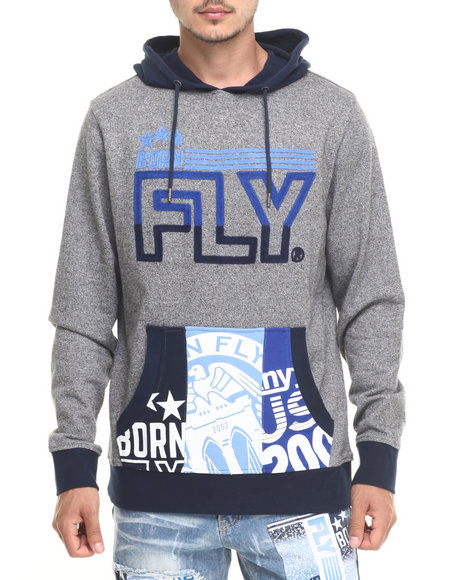 Born Fly - Men Grey 23Er Pullover Hoodie
