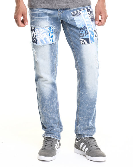Born Fly - Men Medium Wash Bear Patch Denim Jeans