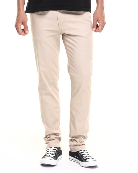 Basic Essentials - Men Khaki Skinny Colored Pants (Usa Made) (Go Usa!)