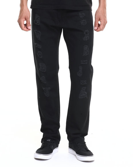 Basic Essentials - Men Black Run Down Destructed Color Denim Jeans