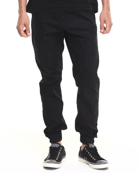 Basic Essentials - Men Black Twill Casual Jogger (Usa Made) (Go Usa!)