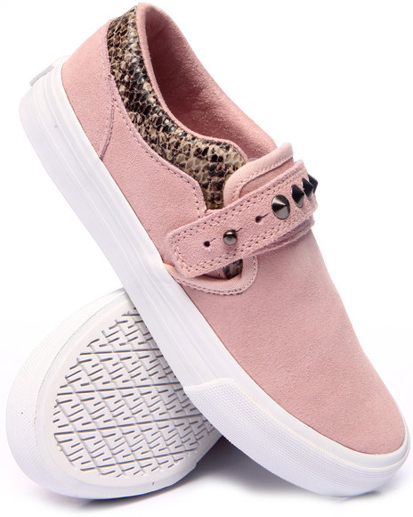 Supra - Women Pink Cuba Slip On Sneakers W/Suede & Studs