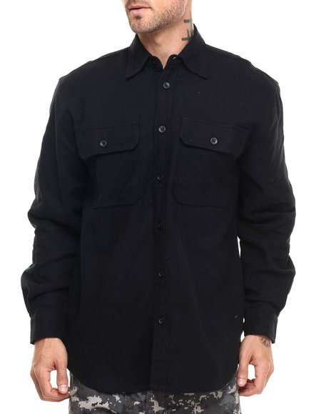 Rothco Men Rothco Heavy Weight Solid Flannel Shirt Black Small