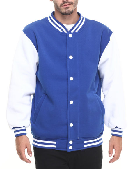 Basic Essentials - Men Blue Contrast - Sleeved Fleece Varsity Jacket