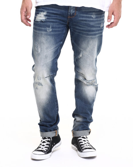 Akoo - Men Medium Wash Bones Jeans