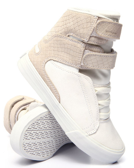 Supra - Women White Society Ii Faux Snakeskin-Embossed Suede High Top