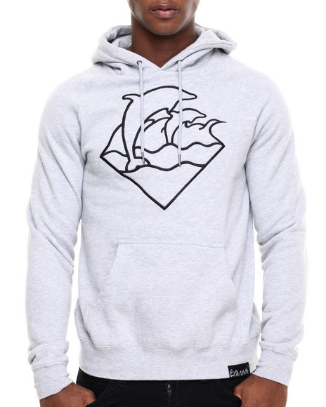 Pink Dolphin - Men Light Grey Waves Pullover Hoodie