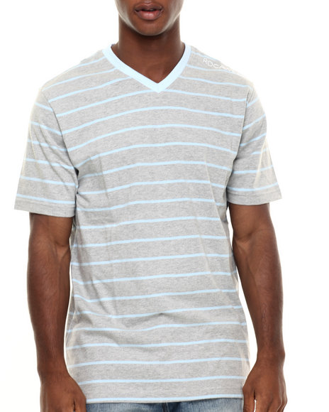 Rocawear - Men Grey,Light Blue Heather Stripe V-Neck Tee