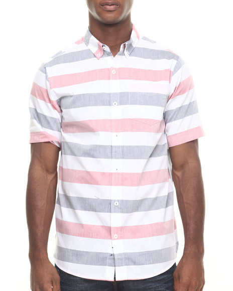 Rocawear - Men White Oxford Stripe S/S Button-Down