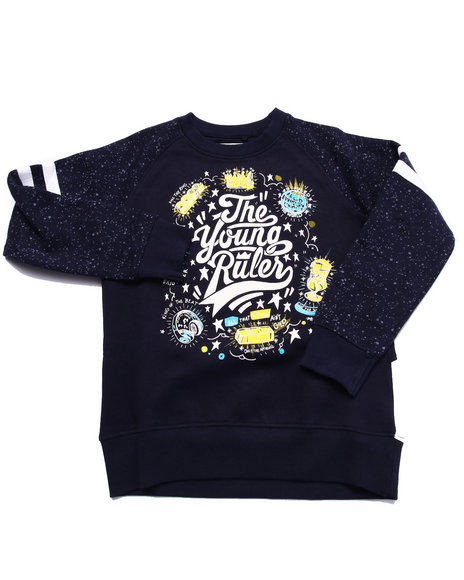 Parish - Boys Navy The Young Rulers Speckle Print Raglan Sweatshirt (4-7)