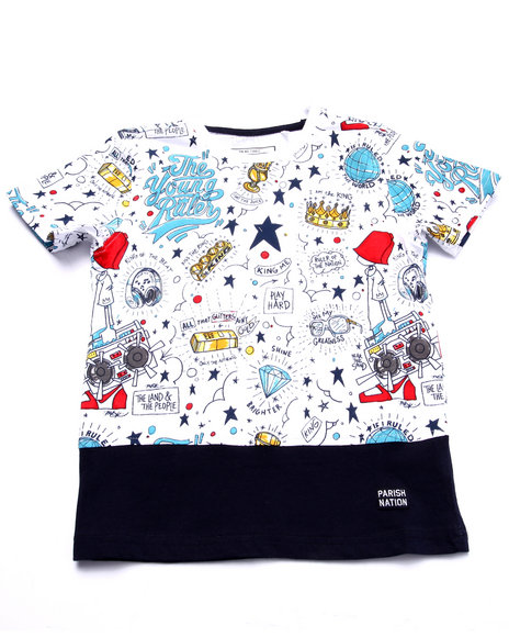 Parish - Boys White Young Rulers All Over Print Tee (4-7) - $12.99