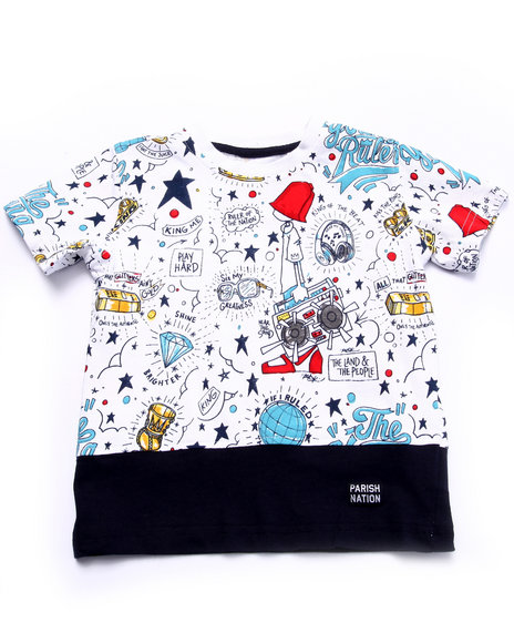 Parish - Boys White Young Rulers All Over Print Tee (2T-4T) - $10.99