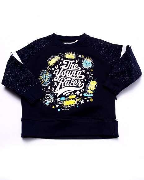 Parish - Boys Navy The Young Rulers Speckle Print Raglan Sweatshirt (2T-4T)