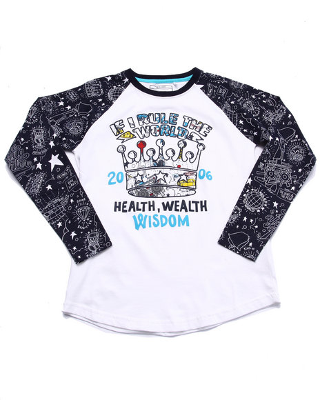 Parish - Boys White The Young Rulers Raglan (8-20) - $20.99
